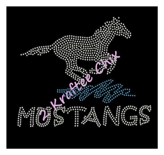 Mustangs Rhinestone Tshirt Mustangs Bling Tshirt by 2KrafteeChix