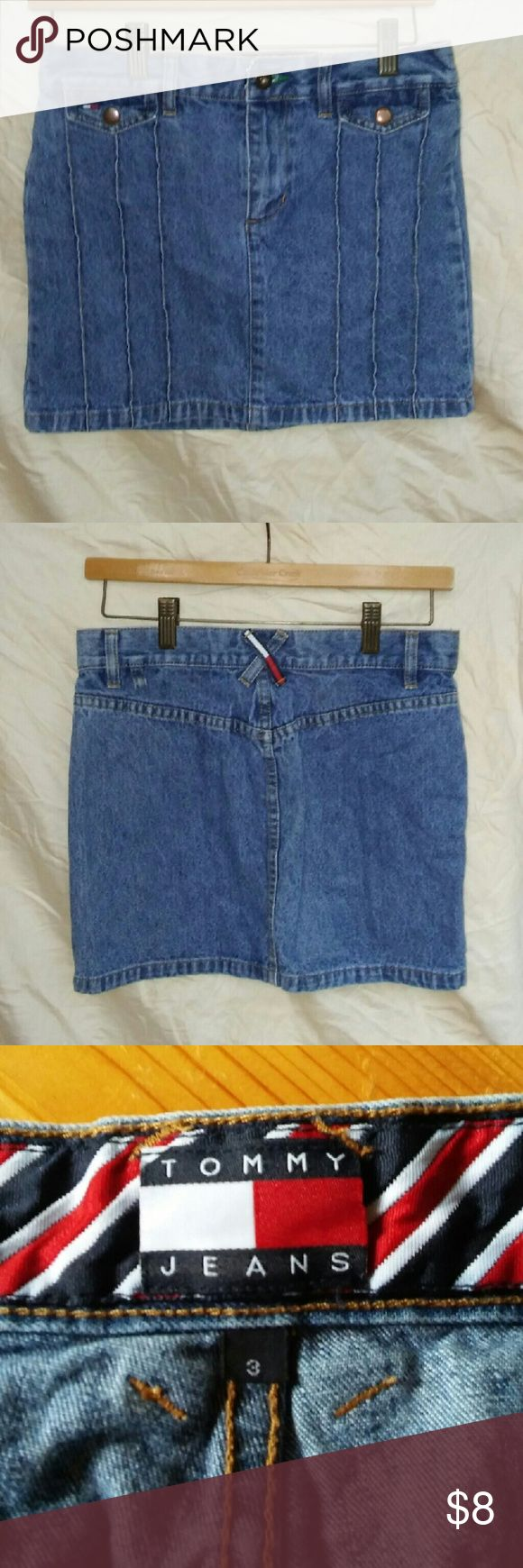 TOMMY JEANS Mini-Skirt, 3 Denim, Authentic Vintage Tommy Jeans Mini skirt in excellent condition.  Denim.  SIZE 3.  Red white and blue ribbon detailing.  From a smoke free home. Make an offer! Tommy Hilfiger Skirts Mini