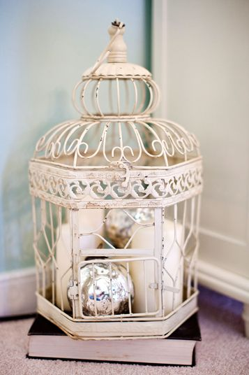 White Birdcage, Matching Accents And Shiny Decoration Inside