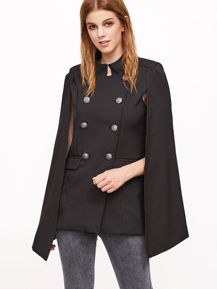 Shop Black Double Breasted Cape Blazer With Pockets online. SheIn offers Black Double Breasted Cape Blazer With Pockets & more to fit your fashionable needs.
