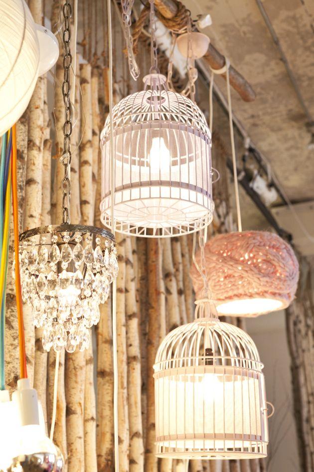 Vogelkooi als lampen