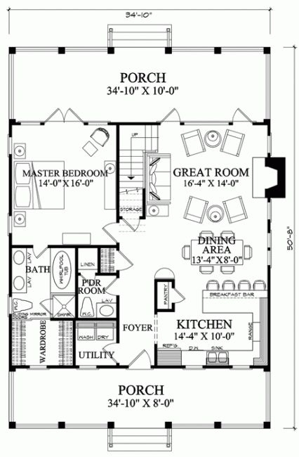 1088sq ft would change up the left side of home, add a bedroom etc but like the right side of home and entry Floor Plan