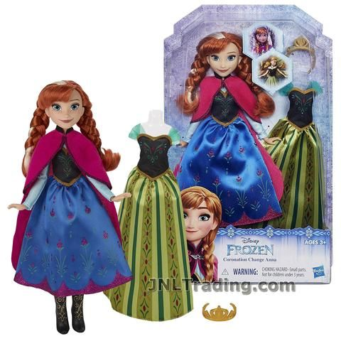 Disney Year 2015 Frozen Movie Series 11 Inch Doll Set - Coronation Change ANNA B5171 in Travel Outfit with Tiara and Coronation Dress