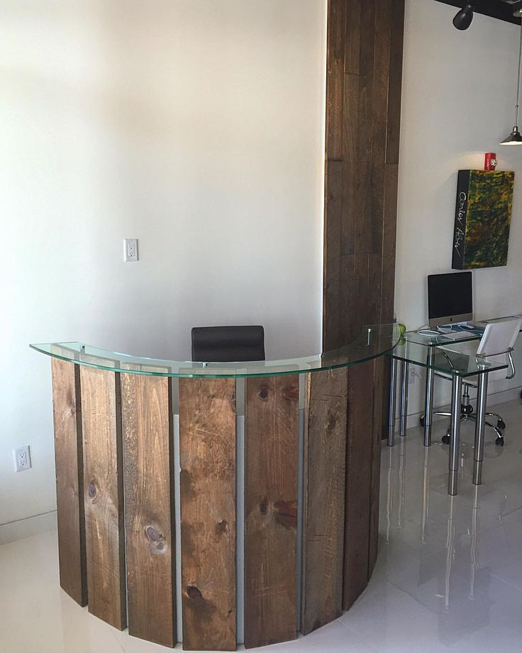 Curved reception desk and wood wall column. | Our Portfolio | Pinterest |  Reception desks, Wood walls and Desks