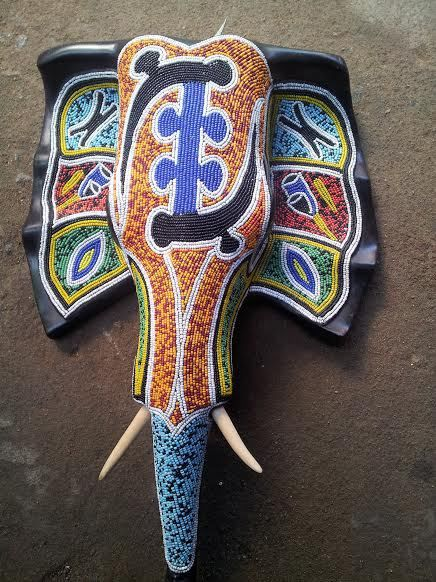 africanartonline.com -Unique  Beaded Osese Wood Elephant Head, Hand carved in Ghana, by Wisdom Nyarku, (http://africanartonline.com/beaded-elephant-head/)
