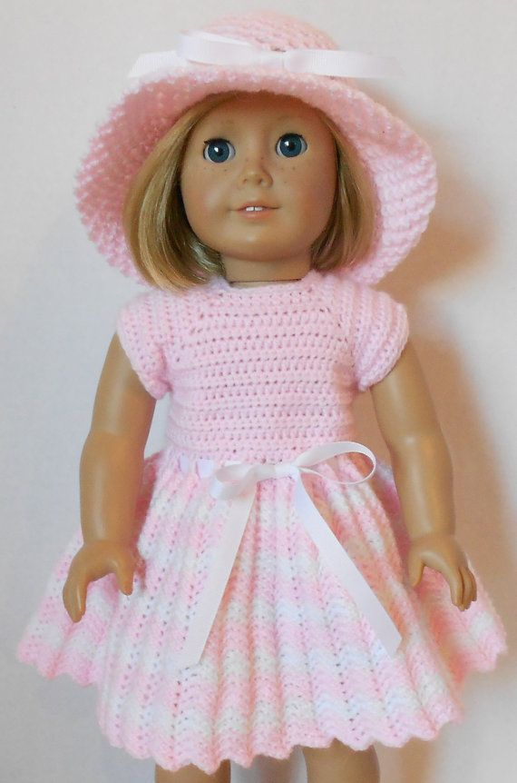 Crochet Patterns Doll Dresses : Spring Dress and Hat Crochet Pattern fits American by Patternsetc, $7 ...