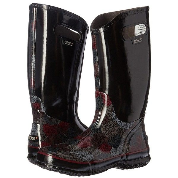 Bogs Rain Boot Rosey (Black Multi) Women's Rain Boots ($68) ❤ liked on Polyvore featuring shoes, boots, mid-calf boots, black waterproof boots, waterproof rubber boots, black boots, print rain boots and black wellington boots