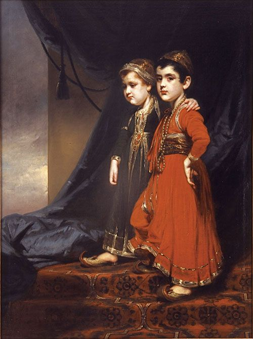 George Chinnery, portrait of the young children of James Fitzpatrick and Khair un-Nissa. Poor babies!