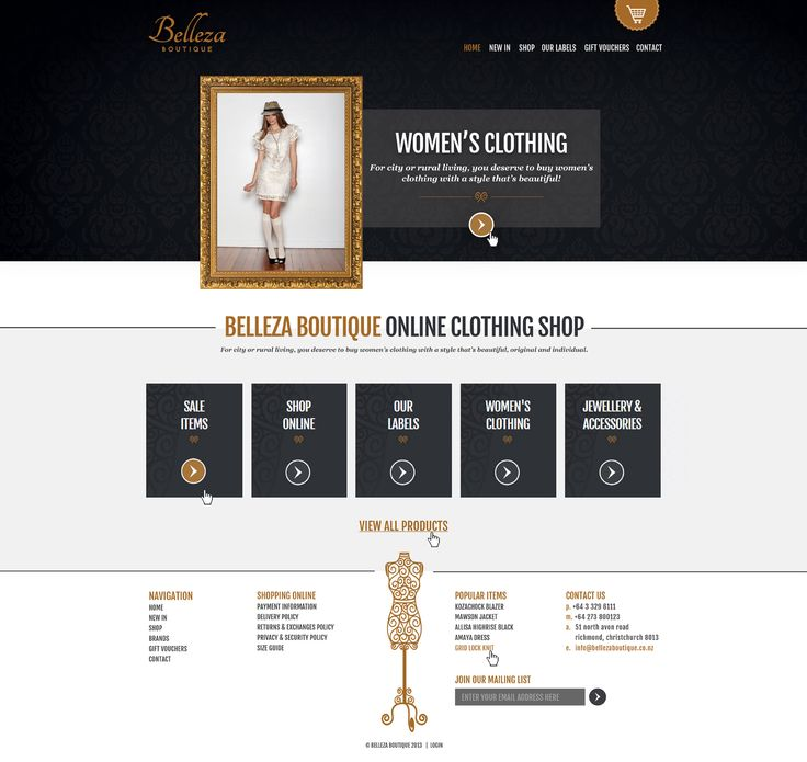 Belleza Boutique e-commerce website design and development