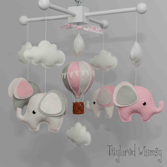 Elephant Mobile - Hot Air Balloon Mobile - Custom Mobile (not ready made) - Ships in 4-6 Weeks