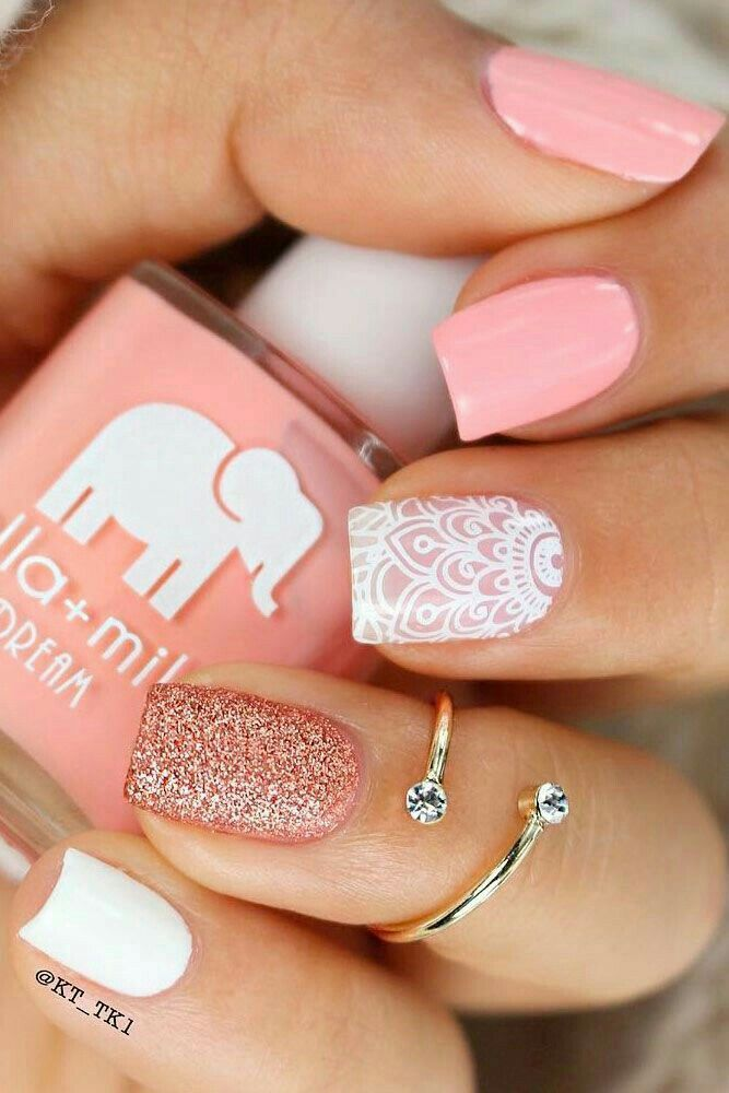 Baby Pink Sparkle with a White Pattern Design