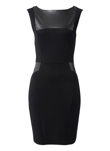 Viscose/Nylon/Elastane blend dress with featured leather-like panels. Sleeve-less mid length dress, with neat silhouette. Available in Black as shown.