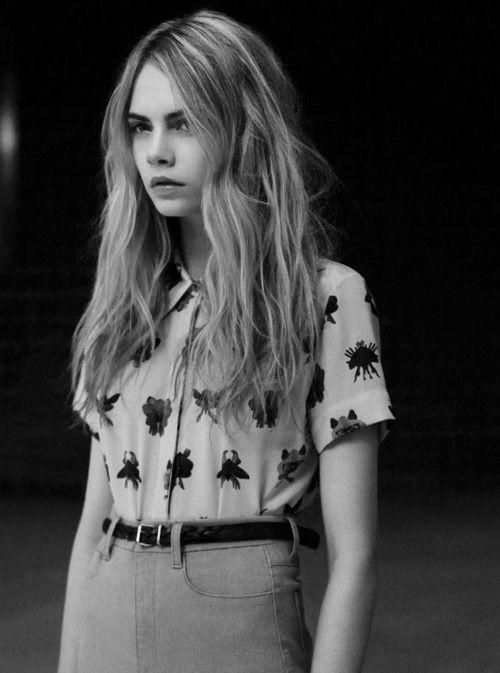 Beautiful hair and shirt.