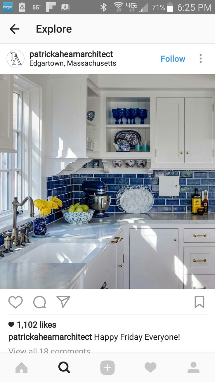 blue subway tile! (and also the blue dinnerware and kitchen accents)