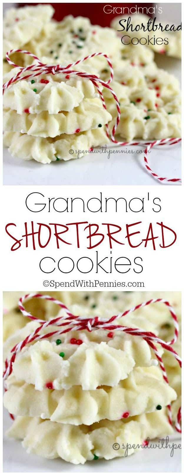 Grandma's Shortbread Cookies Recipe via Spend With Pennies - The BEST Christmas Cookies, Fudge, Candy, Barks and Brittles Recipes - Favorites for Holiday Treats Gift Plates and Goodies Bags!