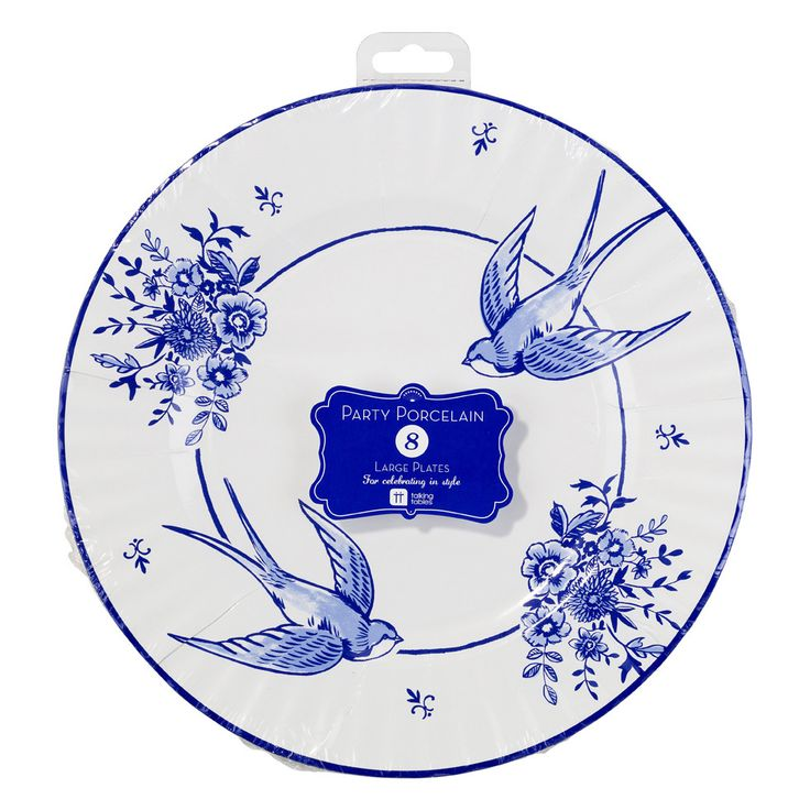 Party Porcelain Blue Large Paper Plates Swallows  sc 1 st  Pinterest & 32 best Party Porcelain Blue images on Pinterest | Paper plates ...