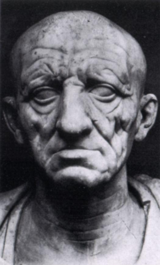 1)Nome= ritratto di patrizio romano; 2)Autore= ignoto; 3)Data= prima metà del I sec. A.C; 4)Tecnica= busto marmoreo alto 35cm di un anziano patrizio; 5)Luogo di conservazione= Museo Torlonia,Roma