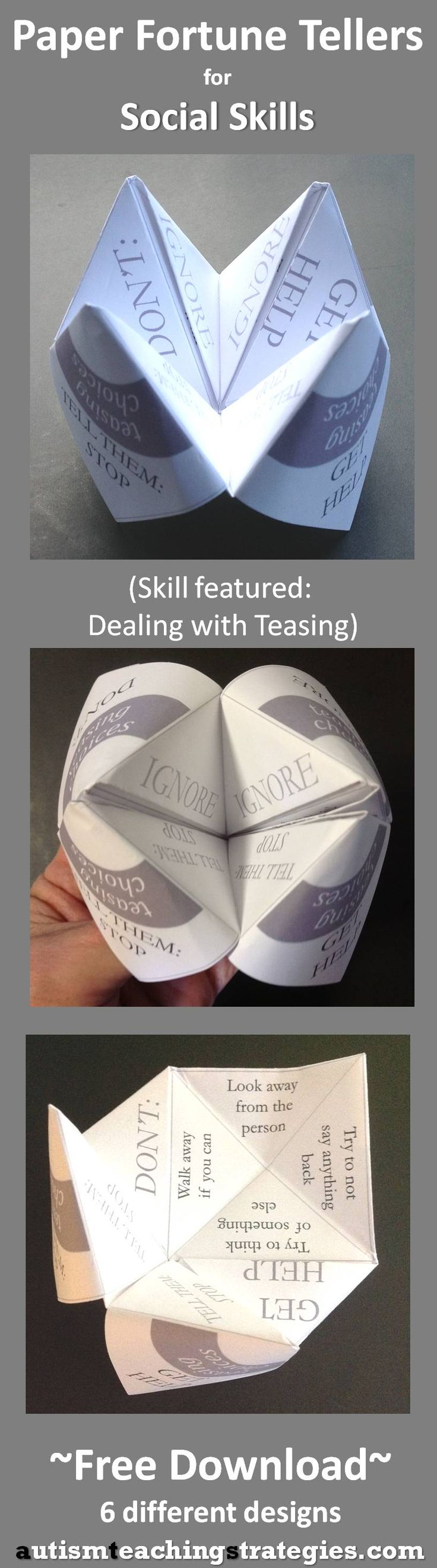 "This is one of six paper ""fortune tellers"" on various social skills themes."