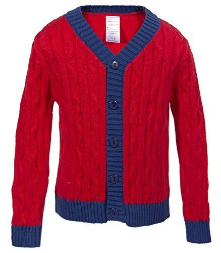 Product review for Babeeni Baby Cardigan Sweater Featured With Blue Pearl Buttons Line, Long Sleeves and Heart-Shaped Collar Cardigan For Kid.  This red cardigan for boy is made by our skillful workers who had many years working in clothing industry. Made 100% of high quality cotton, the cardigan is soft, highly durable, easy to dress and make your kid feel comfortable on cold days. Front buttons made of handmade natural mother-of-pearl...