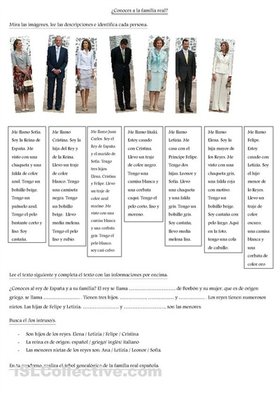 use the spanish royal family to teach adjectives and culture at the same time!
