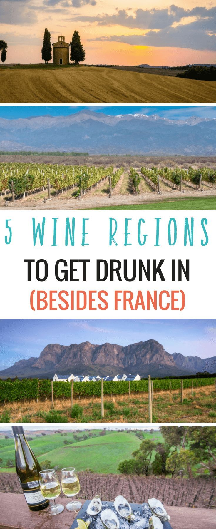 Where's your favorite wine region around the world? Check out these five incredible places to drink wine in the world - Stellenbosch, Barossa Valley, Tuscany and more! #Wine #BucketList