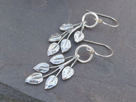 Leafy Dangles Sterling Silver Earrings  by hummingbirdcreation, $36.00