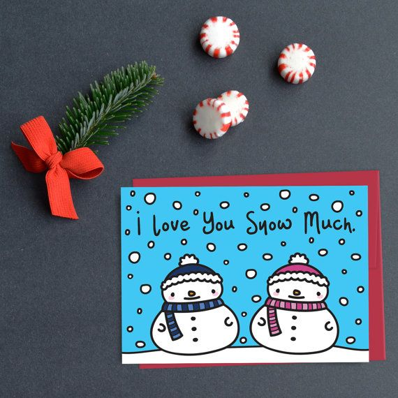 Cute Snowman Card  I Love You Snow Much Card  by AlluringPrints