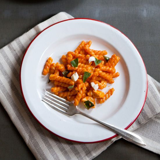 Gemelli with Creamy Red Pepper Sauce and Fresh Mozzarella   Food & Wine