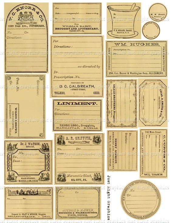 graphic relating to Free Printable Vintage Apothecary Labels known as Classic Blank Apothecary Labels Journaling Card Ephemera