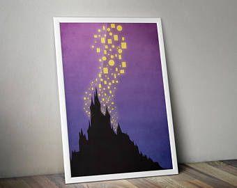Tangled Minimalist Poster - Rapunzel Disney Poster Print, Tangled Film, Rapunzel Disney Princess, Corona Castle Lanterns Minimalist Print.