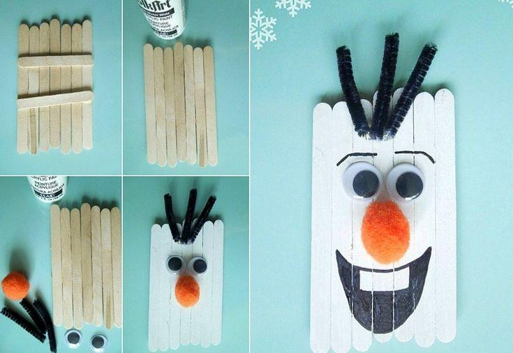 Olaf der Schneemann aus Eisstäbchen basteln