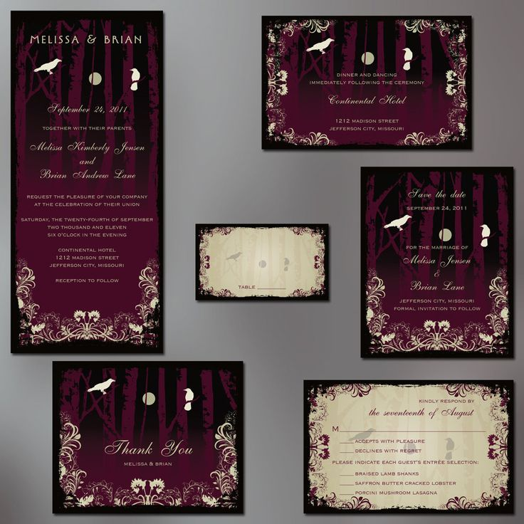 Gothic Wedding, Goth Wedding Invitation Suite, Goth Party Invitation. Design Features Birch Trees, White Crows, Full Moon. You Choose Color