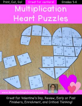 Valentine's Day Math Centers - Multiplication Heart Puzzles {Engaging, Critical Thinking Game!} The Valentine's Day Math Centers Multiplication Heart Puzzles make it quick and easy for teachers to provide hands on activities that meet the needs of all students!