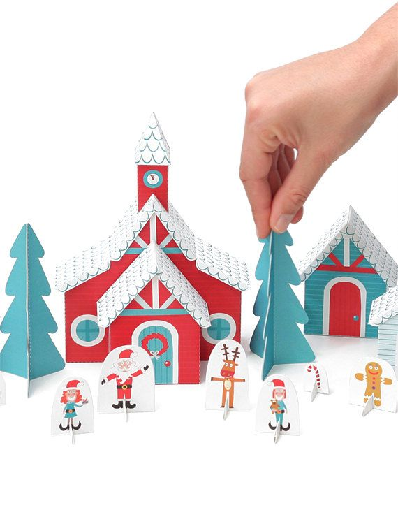 Christmas Paper Village - Holiday Toy - DIY Craft Kit Paper Toy - Paper Craft with Free Paper Finger Puppets - PRINTABLE PDF