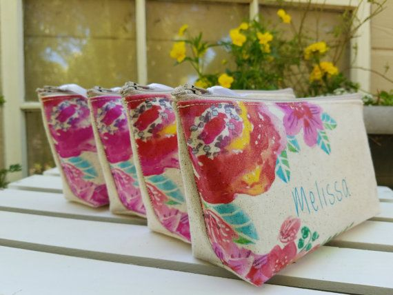 Set 5 Garden Bridesmaid Clutch Wedding Gift Burlap by SayYouDo