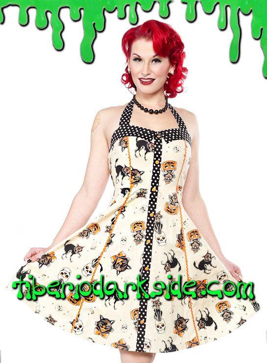 Vestido psychobilly de corte 'Peggy' estampado de gatos, calaveras y calabazas con contraste de lunares, ribete narnaja y botones de adorno. Cremallera lateral. Falda con ligero vuelo. Materiales: 95% algodón, 5% spandex. Marca: Sourpuss.  COLOR: BEIGE TALLAS: S, M, L, XL, XXL, 3XL  S - 82 cm pecho (ES talla 36, MEX talla 26, UK talla 8) M - 88 cm pecho (ES talla 38, MEX talla 28, UK talla 10) L - 94 cm pecho (ES talla 40, MEX talla 30, UK talla 12) XL - 100 cm pecho (ES talla 42, MEX talla…