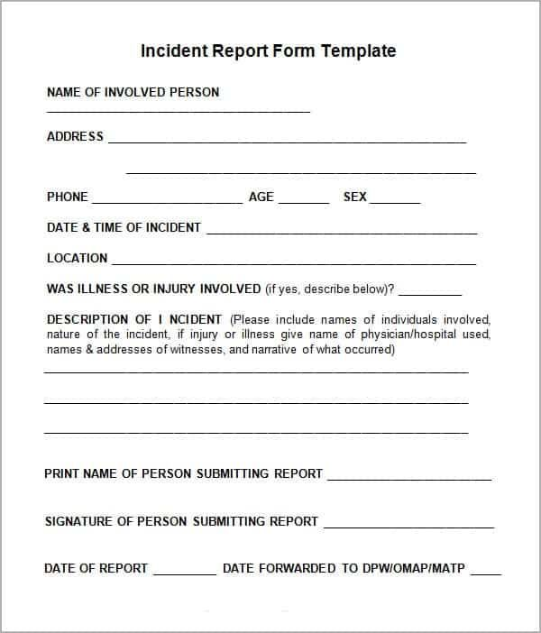 Incident Report Form Template Word Incident Report Form Incident Report Report Writing Template