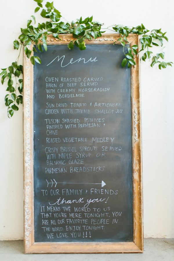 chalkboard wedding menu - photo by Sara and Rocky Photography http://ruffledblog.com/stylish-and-light-fall-wedding