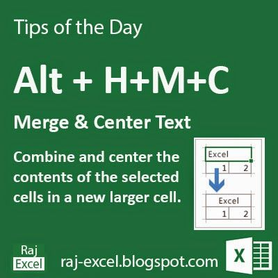 Raj Excel: Tips of the Day: Microsoft Excel Short Cut Keys: Alt HMC