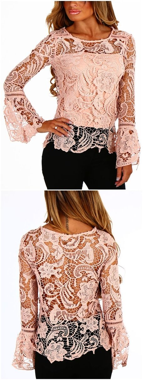 Pink See-through Lace Details Round Neck Long Sleeves Sexy Top