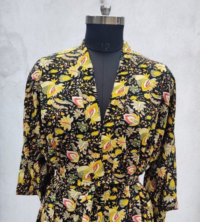 Kimono Yellow Jacket Floral Kimono Yellow Robe Floral Jacket Yellow Kimono Reversible Jacket Yellow Floral Kimono Cover Up