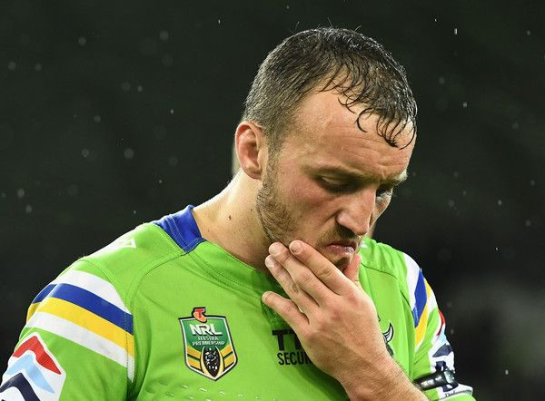 Josh Hodgson of the Raiders looks dejected after losing the NRL Preliminary Final match between the Melbourne Storm and the Canberra Raiders at AAMI Park on September 24, 2016 in Melbourne, Australia.