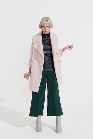 pale pink coat Whistles, shiny black top Cos, green cropped flared trousers Topshop, pale grey boots New Look