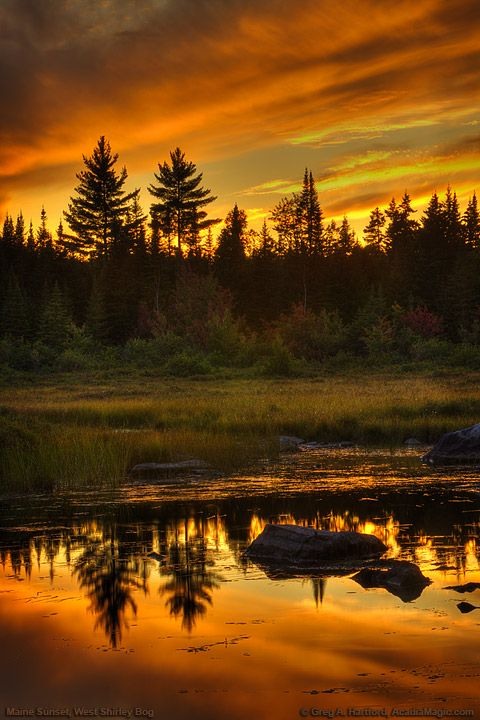 Maine Sunset on West Shirley Bog in Shirley Mills, Maine; photo by Greg A. Hartford