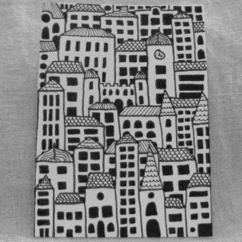 buildings- overlapping and pattern in each roof top- 5th grade- contrast |  LETRAS Y DIBUJOS | Pinterest | Acuarela, Tarjetas de treque y Grecia