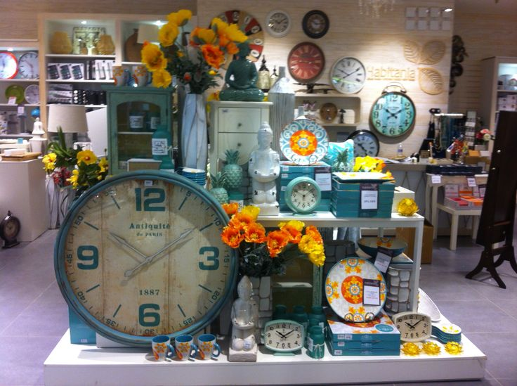 Habitania Homewares Blacktown. Maxwell Williams ceramic serving ware, turquoise, orange and yellow. Huge clock, comes in Cream and Turquoise only $200