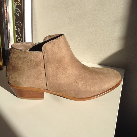 Tan Ankle Booties Side Zip Low Stacked Heel Just in time for spring. You can rock these booties with your favorite jeans or your favorite spring time dress  Brand new never used. Side zip closure, small stacked heel, suede like texture. True to size. Charlotte Russe Shoes Ankle Boots & Booties