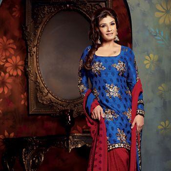 Blue Art Silk Salwar Kameez