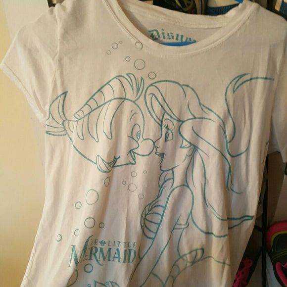 Little mermaid shirt White shirt with little mermaid and flounder, size xl Hot Topic Tops Tees - Short Sleeve