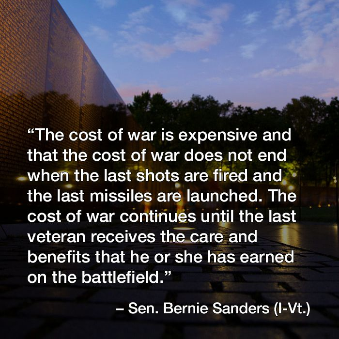 Bernie Sanders has it right! Supporting our troops lasts well beyond the last shots of war are fired.